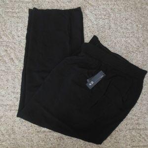 NWT AGB 2X Black Elastic Waist Pants Pockets Rayon